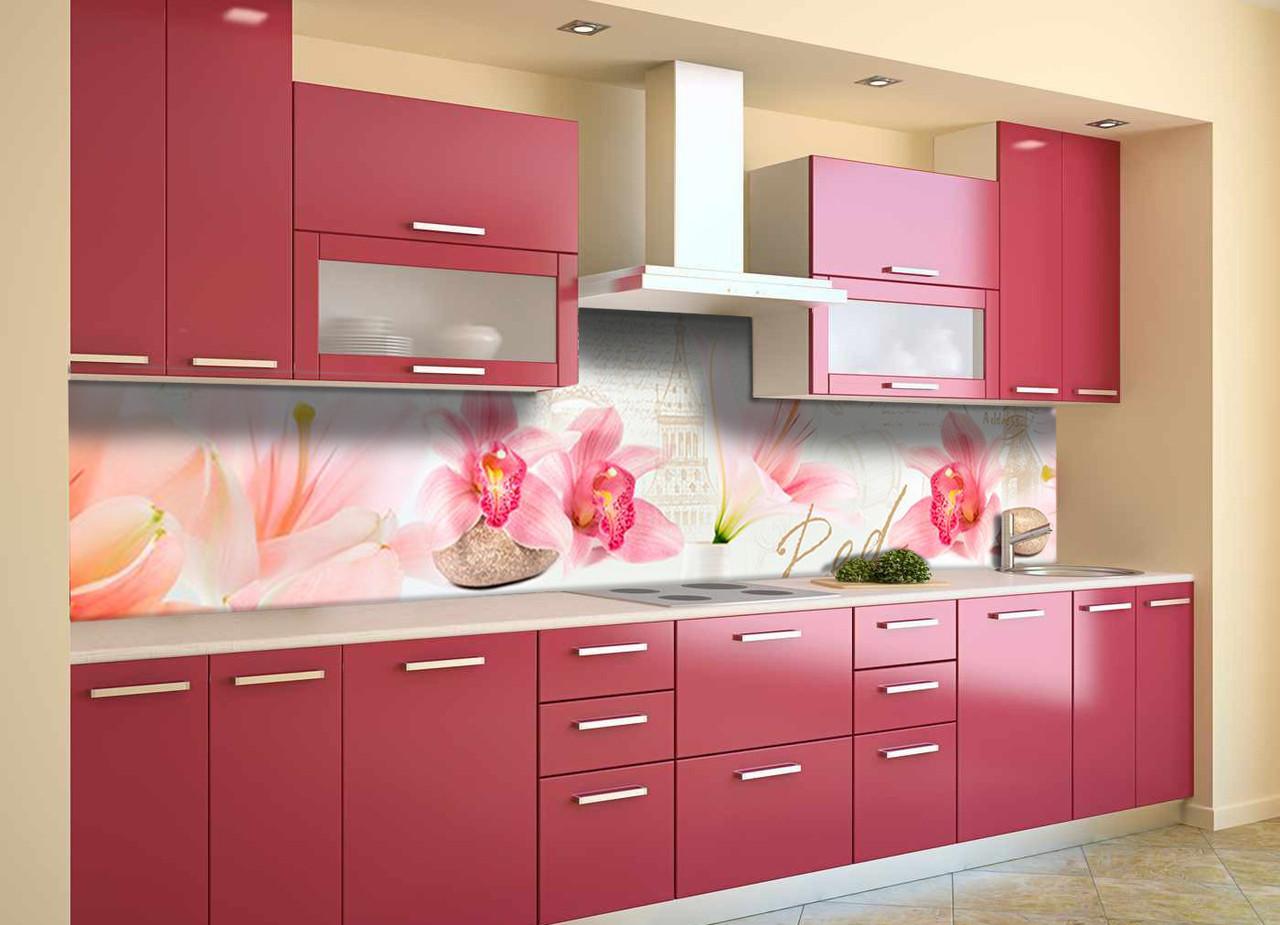 Скинали на кухню Zatarga «Орхидеи Крупные» 650х2500 мм виниловая 3Д наклейка кухонный фартук самоклеящаяся