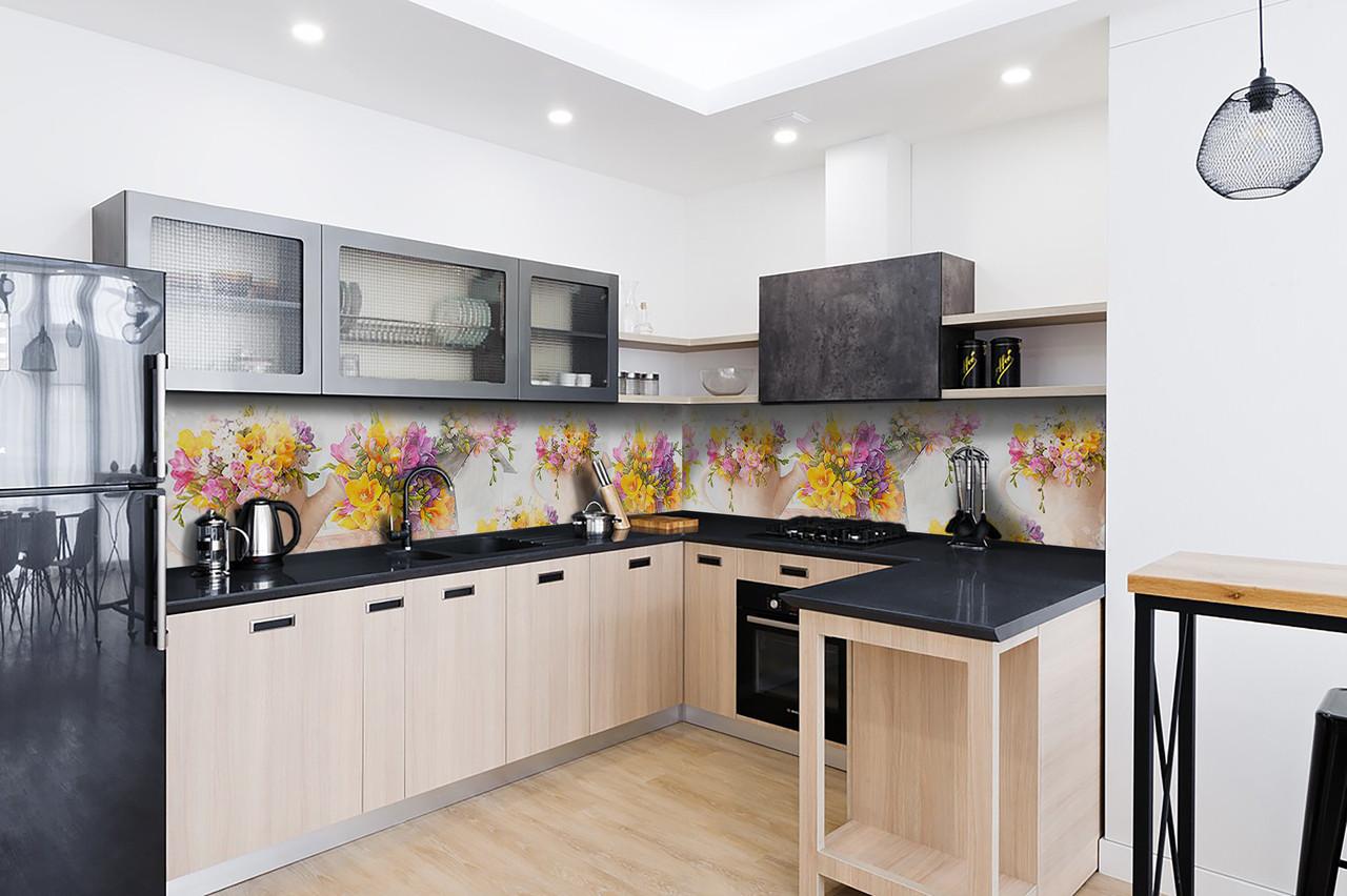 Скинали на кухню Zatarga «Желтый букет» 650х2500 мм виниловая 3Д наклейка кухонный фартук самоклеящаяся