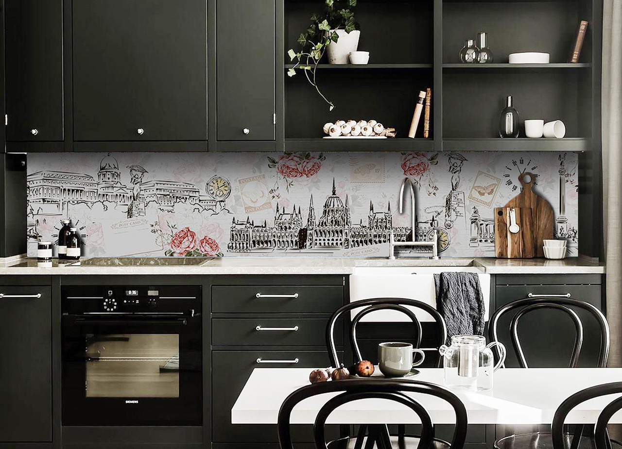 Скинали на кухню Zatarga «Будапешт» 600х2500 мм виниловая 3Д наклейка кухонный фартук самоклеящаяся