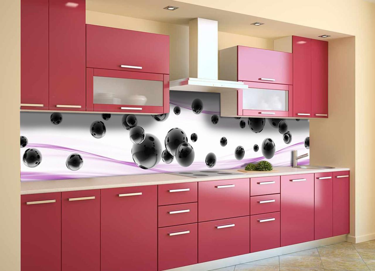 Скинали на кухню Zatarga «Черные Сферы» 600х2500 мм виниловая 3Д наклейка кухонный фартук самоклеящаяся