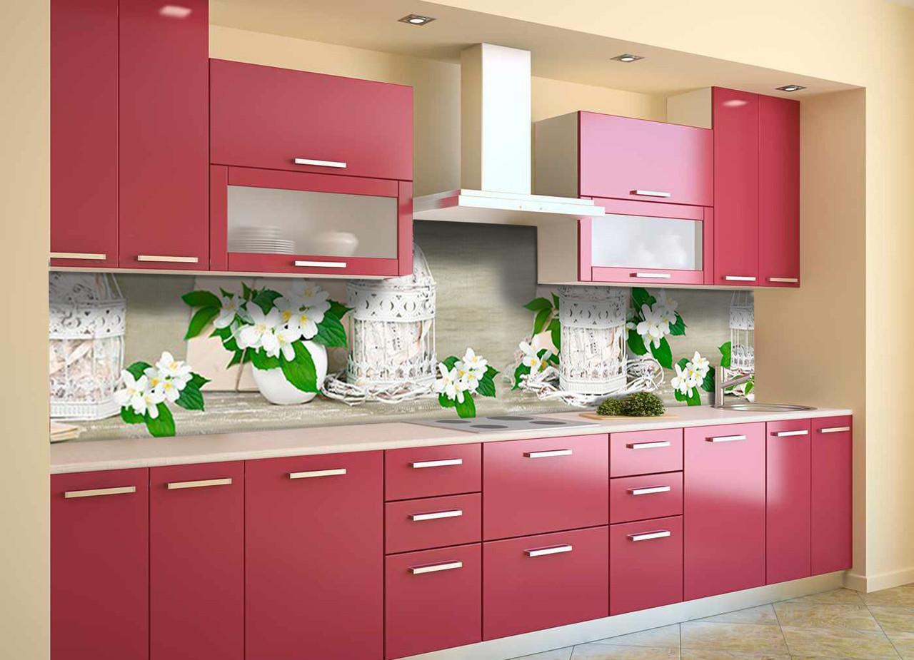 Скинали на кухню Zatarga «Жасмин» 600х3000 мм виниловая 3Д наклейка кухонный фартук самоклеящаяся