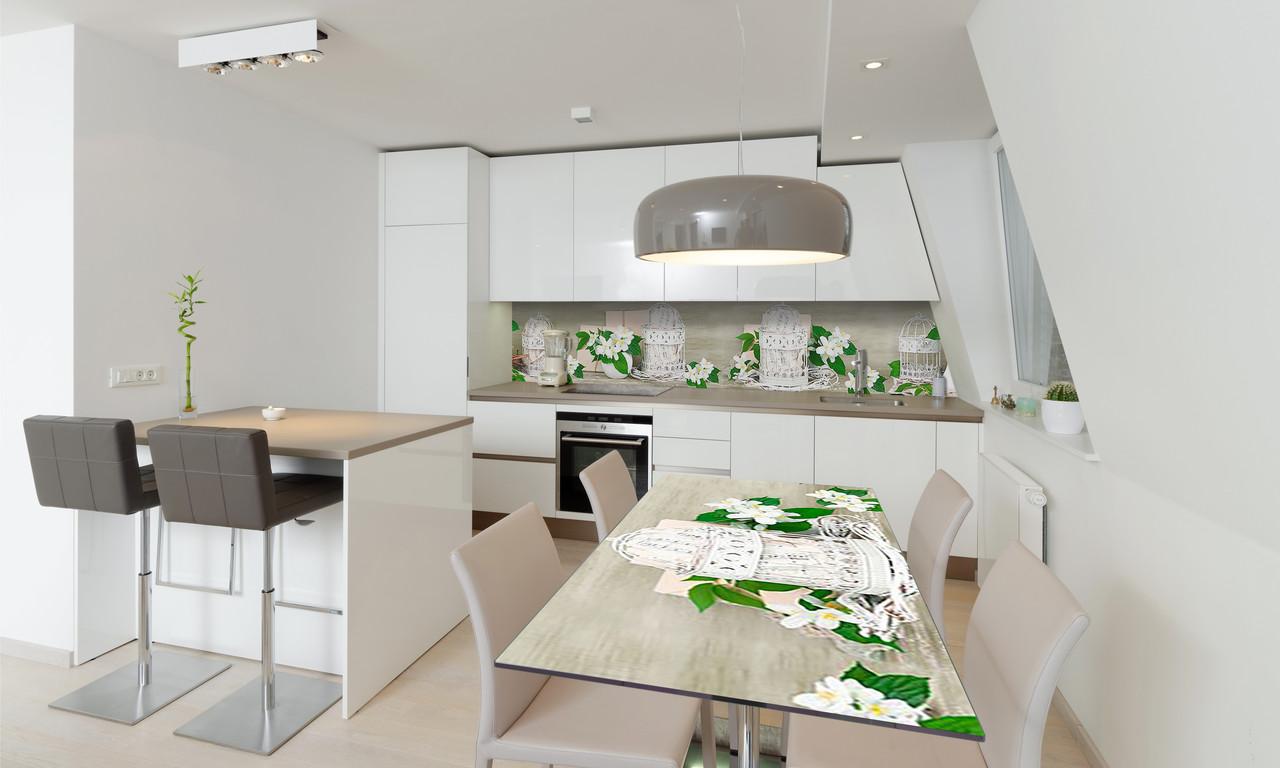 Наклейка 3Д виниловая на стол Zatarga «Жасмин» 650х1200 мм для домов, квартир, столов, кофейн, кафе