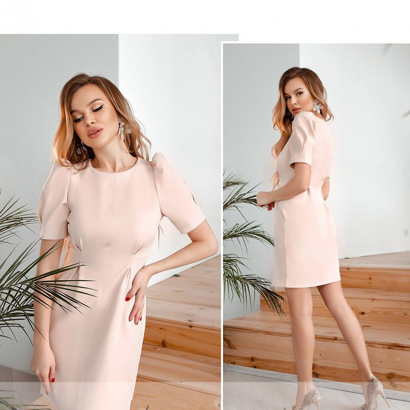 Платье №1066-пудровый Размеры 42,44,46,