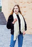 🔥НОВИНКА!!! Большой белый однотонный кашемировый платок с бахромой LEONORA, фото 1