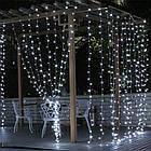 Гирлянда наружная Штора светодиодная, 150 LED, Белая, флеш с мерцанием, черный провод, 3х1м., фото 3