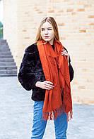 🔥НОВИНКА!!! Большой терракотовый однотонный кашемировый платок с бахромой LEONORA, фото 1