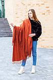🔥НОВИНКА!!! Большой терракотовый однотонный кашемировый платок с бахромой LEONORA, фото 2