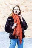 🔥НОВИНКА!!! Большой терракотовый однотонный кашемировый платок с бахромой LEONORA, фото 3