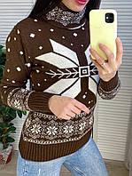Свитер со снежинками женский коричневый, фото 1