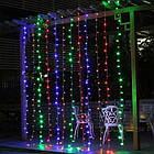 Гирлянда наружная Штора светодиодная, 150 LED, Мультицветная, флеш с мерцанием, черный провод, 3х1м., фото 2