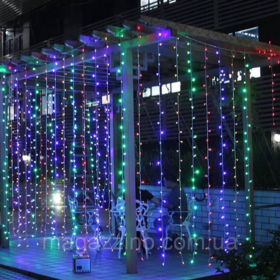Гирлянда наружная Штора светодиодная, 150 LED, Мультицветная, флеш с мерцанием, черный провод, 3х1м.