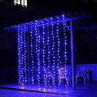 Гирлянда наружная Штора светодиодная, 150 LED, Голубая (Синяя), флеш с мерцанием, черный провод, 3х1м., фото 2