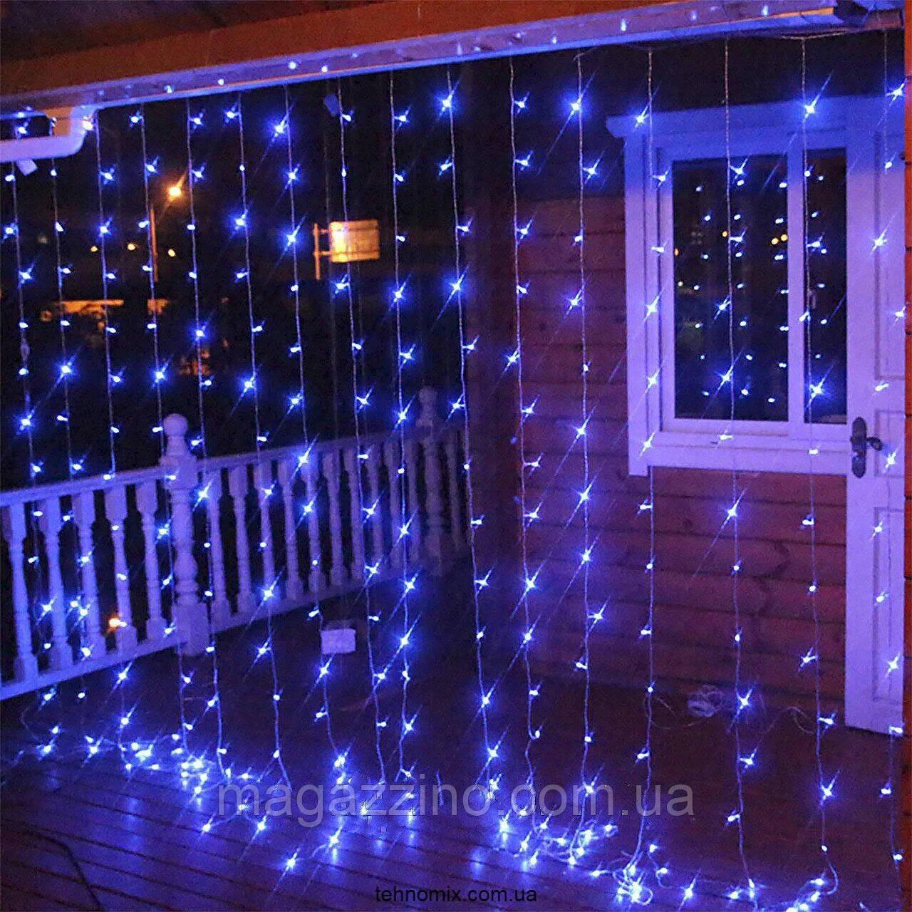 Гирлянда наружная Штора светодиодная, 150 LED, Голубая (Синяя), флеш с мерцанием, черный провод, 3х1м.