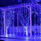 Гирлянда наружная Штора светодиодная, 150 LED, Голубая (Синяя), флеш с мерцанием, черный провод, 3х1м., фото 4