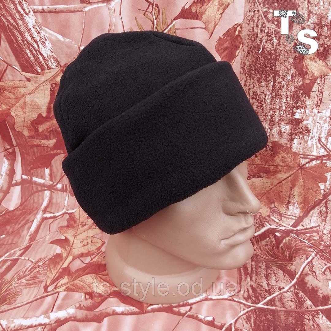 Флісова шапка подвійна з підворотом чорна 260