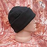 Флісова шапка подвійна з підворотом чорна 260, фото 2