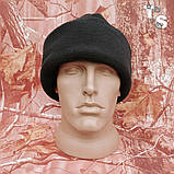 Флісова шапка подвійна з підворотом чорна 260, фото 3
