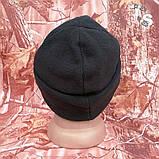 Флісова шапка подвійна з підворотом чорна 260, фото 4