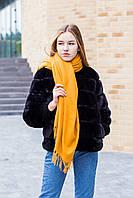 🔥НОВИНКА!!! Большой горчичный однотонный кашемировый платок с бахромой LEONORA, фото 1