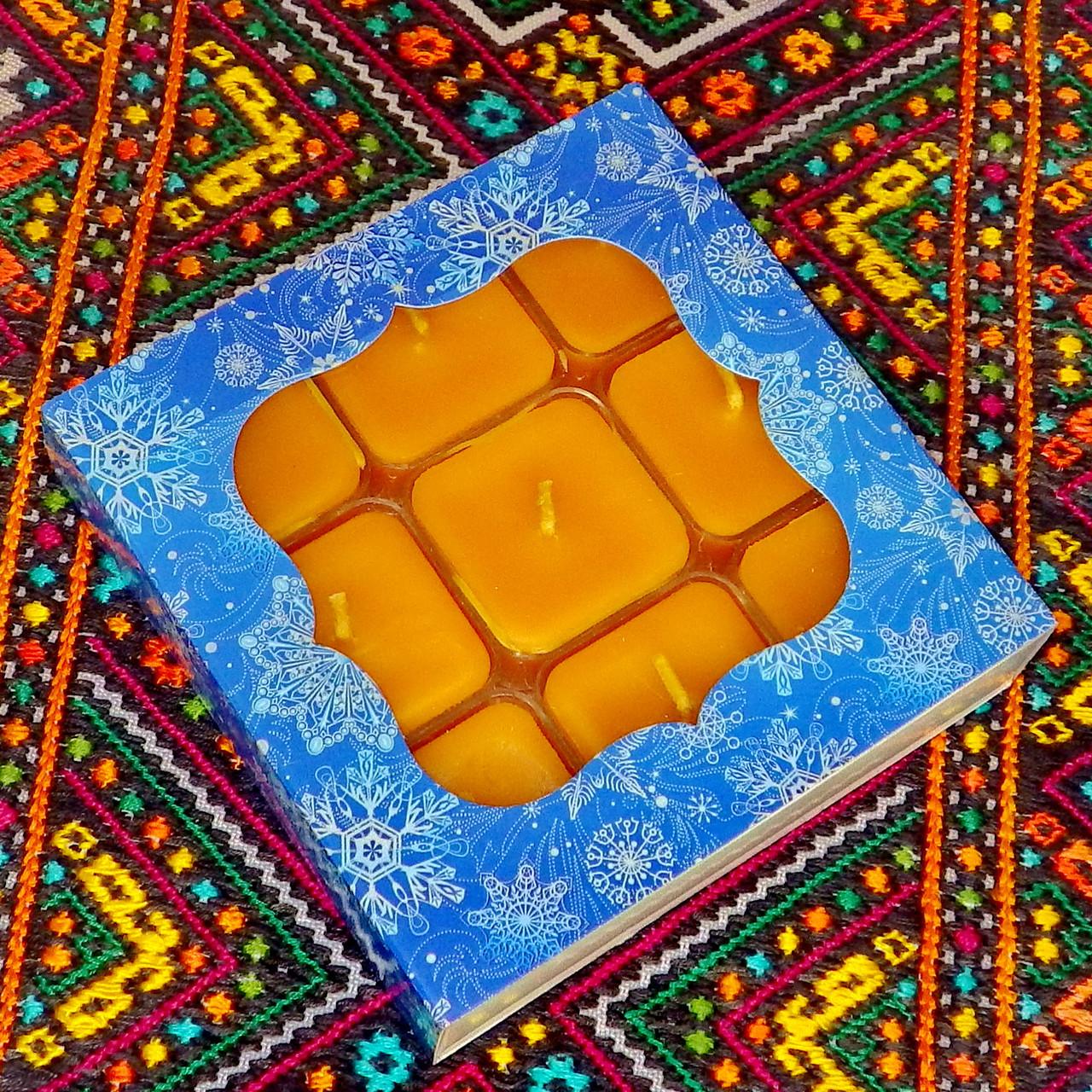 Подарочный набор квадратных чайных восковых свечей (9шт.)