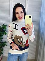 Женский теплый свитер под горло Gerekli белый, фото 1