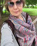 Дорогоцінна 1292-7, павлопосадский хустку (шаль) з ущільненої вовни з шовковою бахромою в'язаної, фото 3