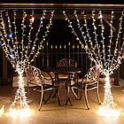 Гирлянда наружная Штора светодиодная, 150 LED, Золотая (Теплый белый), флеш с мерцанием, белый провод, 3х1м., фото 2