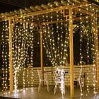 Гирлянда наружная Штора светодиодная, 150 LED, Золотая (Теплый белый), флеш с мерцанием, белый провод, 3х1м., фото 3
