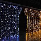 Гирлянда наружная Штора светодиодная, 150 LED, Золотая (Теплый белый), флеш с мерцанием, белый провод, 3х1м., фото 5