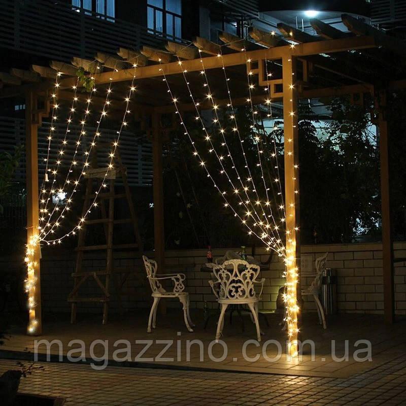 Гирлянда наружная Штора светодиодная, 150 LED, Золотая (Теплый белый), флеш с мерцанием, белый провод, 3х1м.