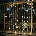Гирлянда наружная Штора светодиодная, 150 LED, Золотая (Теплый белый), флеш с мерцанием, белый провод, 3х1м., фото 6