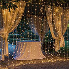 Гирлянда наружная Штора светодиодная, 150 LED, Золотая (Теплый белый), флеш с мерцанием, белый провод, 3х1м., фото 10