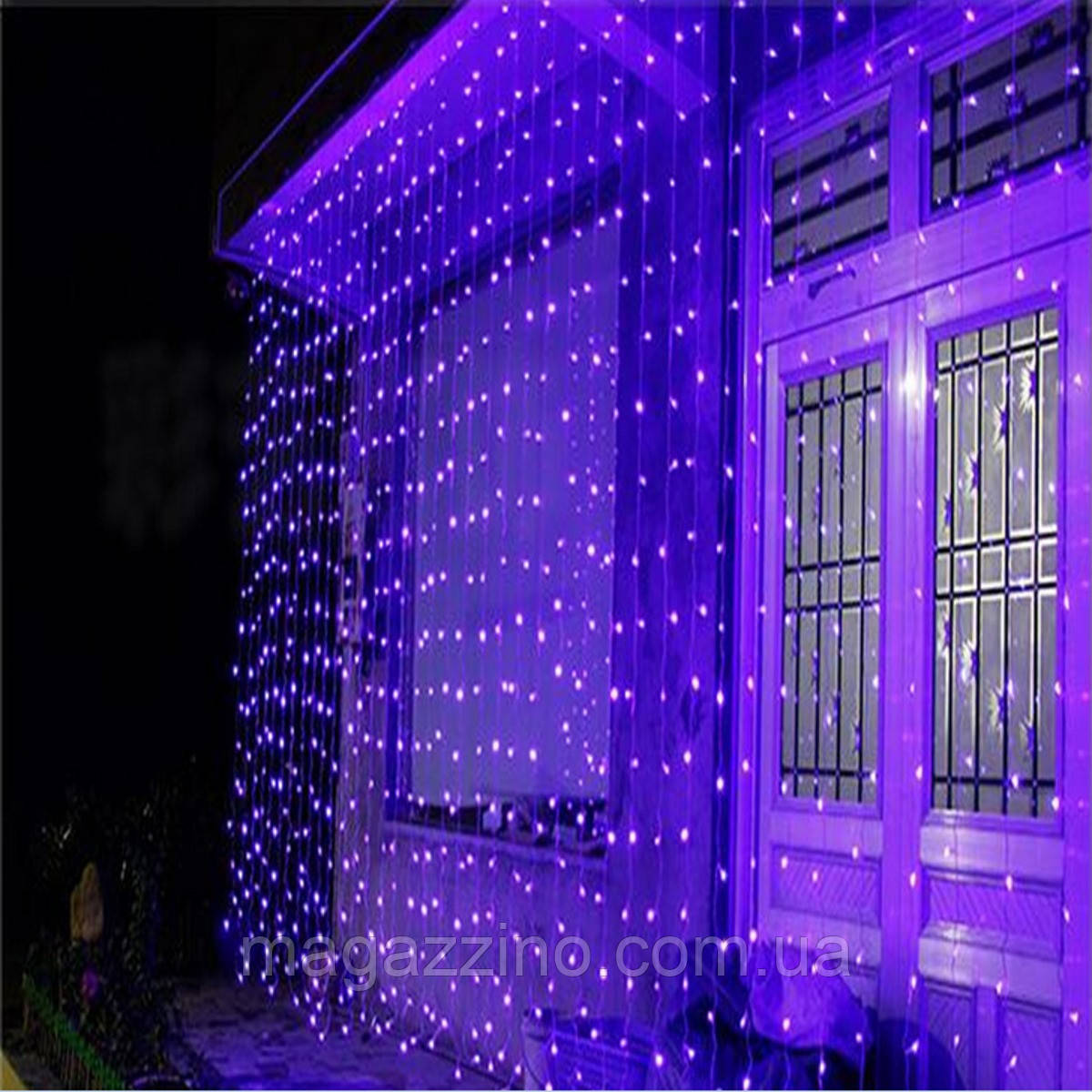Гирлянда наружная Штора светодиодная, 150 LED, Фиолетовая, флеш с мерцанием, белый провод, 3х1м.