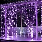 Гирлянда наружная Штора светодиодная, 150 LED, Фиолетовая, флеш с мерцанием, белый провод, 3х1м., фото 2