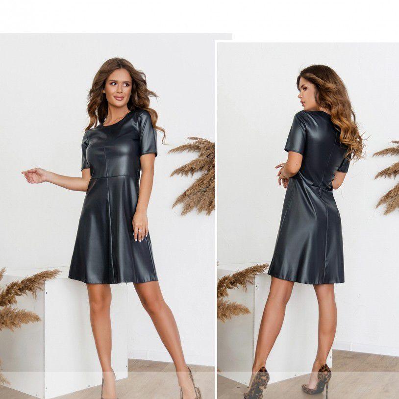 Шкіряне плаття №1718-синій Розміри 42
