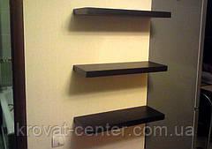 Дерев'яна навісна полиця з прихованим кріпленням від виробника (колір венге, чорний), фото 3