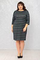 Женское платье Футляр №6 р. 50-62 клетка маленькая, фото 1