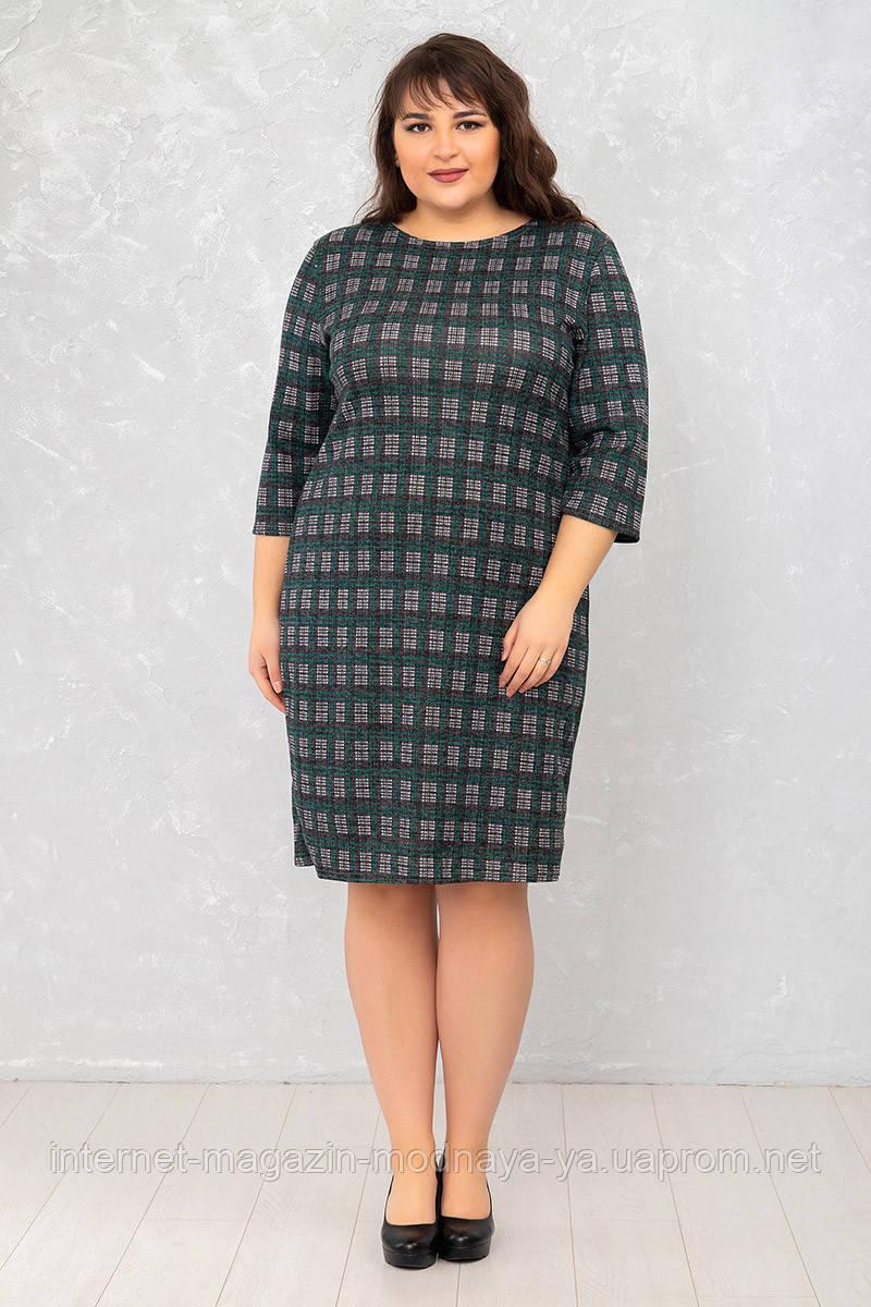 Женское платье Футляр №6 р. 50-62 клетка маленькая