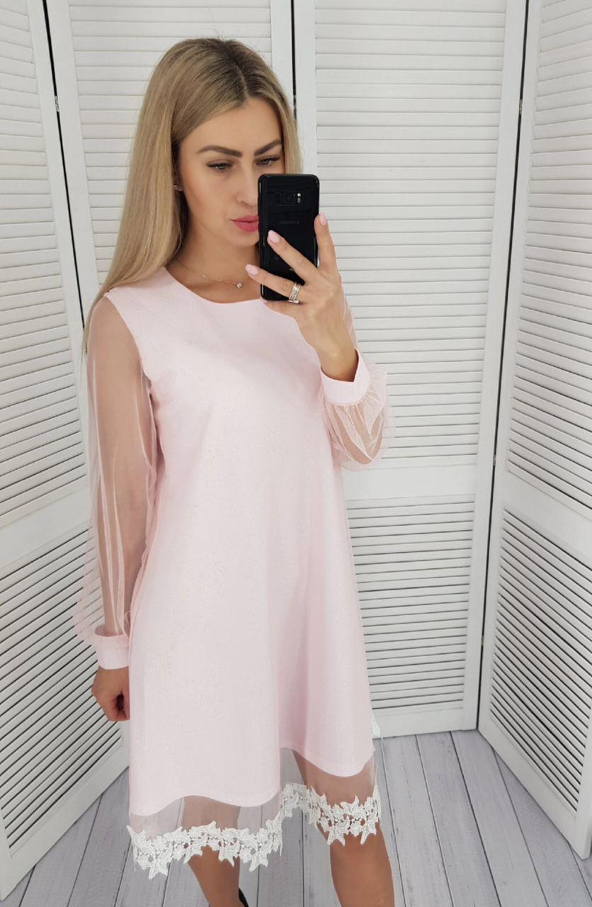 Платье женское, цвет: пудра, с кружевом, арт. 407