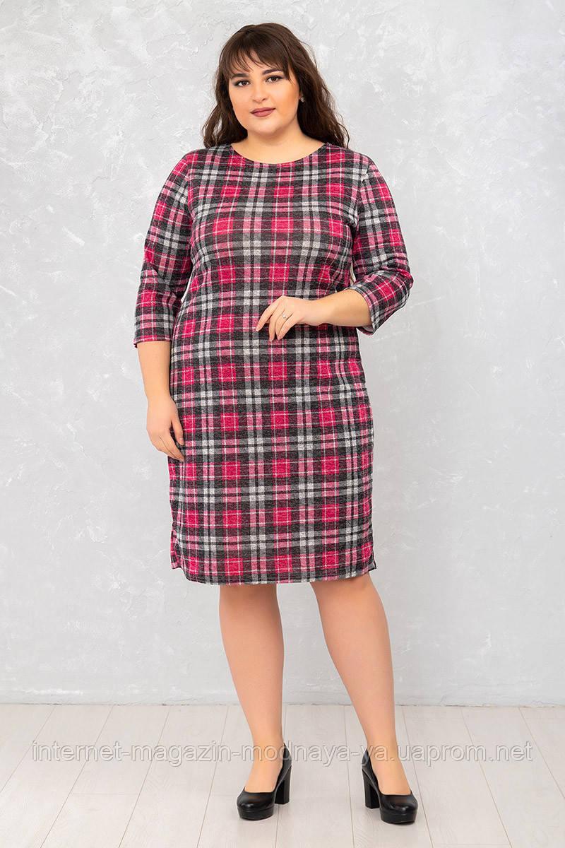 Женское платье Футляр №3 р. 50-62 клетка розовая