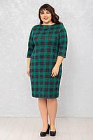 Женское платье Футляр №2 р. 50-62 клетка зеленая
