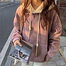 Женское теплое худи оверсайз с плюшевым капюшоном (р.42-46) 68sv1057, фото 3
