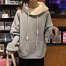 Женское теплое худи оверсайз с плюшевым капюшоном (р.42-46) 68sv1057, фото 4