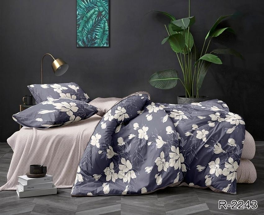 Двуспальный Евро комплект постельного белья Ранфорс  с компаньоном R2243