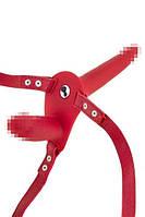 Подвійний страпон з вібрацією Fetish Tentation Vibrating Strap-On with Double Dildo Red