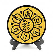 9170016 Гармонизатор обсидиан с символикой Лотос
