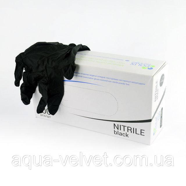Перчатки Polix PRO&MED EXTRA Safe BLACK S (буз пудры)