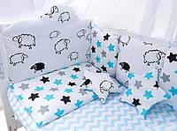 Набор постельного и бортики в кроватку для новорожденных, 8 элементов барашки