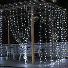 Гирлянда наружная Штора светодиодная, 300 LED, Белая, флеш с мерцанием, белый провод, 3х2м., фото 2