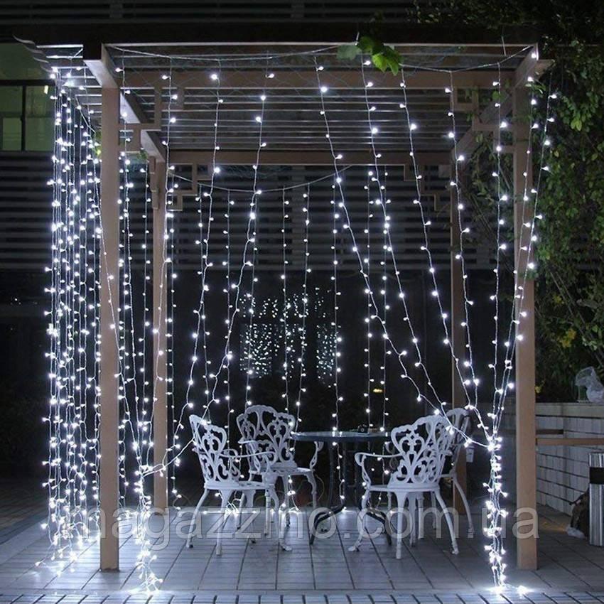 Гирлянда наружная Штора светодиодная, 300 LED, Белая, флеш с мерцанием, белый провод, 3х2м.